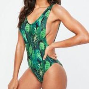 Missguided Green Leaf Print Low Side Swimsuit